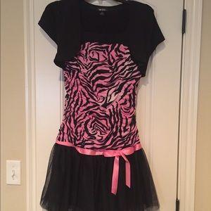 💥GIRLS 16 Pink & Black tulle animal print dress